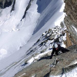 Kletterei am Obegabelorn. Gesichert vom Bergführer.