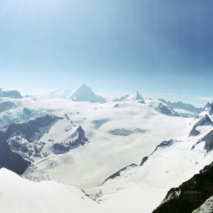 Rundblick von der Aiguille de la Tsa auf Dent Blache, Monte Rosa, Matterhorn und Dent d'Herens