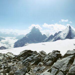 Gipfelpanorama Tete Blanche mit Dent Blanche, Matterhorn und Dent d'Herens
