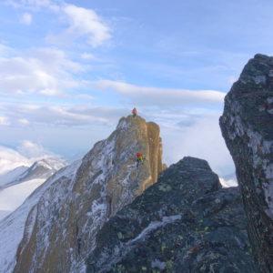 Bergführer auf der Glocknerwandüberschreitung am Großglockner.