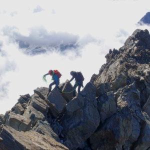 Bergführer auf dem Lagginhorn Südgrat.