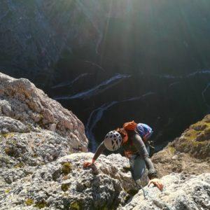 Mit Bergführer in der Solleder am Sass Maor. Klettern in der Pala di San Martino.