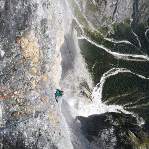 Ausstiegsländen der Scalet Biasin am Sass Maor.