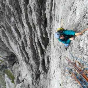 Bergführer in der Messner Route an der Cima Madonna.