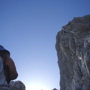 Bergführer auf der HErzogkante an der Laliderer Nordwand