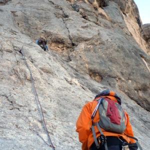 Kletterer in der Don Quichotte in der Marmolada Südawand