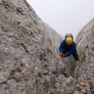 Ausstiegskamine der Schwalbenschwanz in der MArmolada Südwand