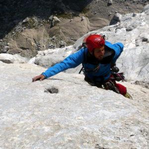 Bergführer in der Vinatzer Messner der Marmolada Südwand