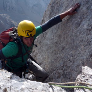 Ausstieg auf die Punta Rocca. Nach dem klettern der der vinatzer Messner der Marmolada Südwand