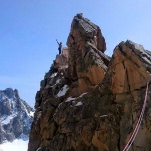 An der Argentiere Südwand. Gesichert vom Bergführer