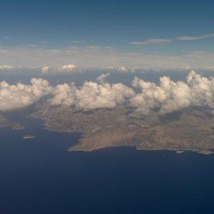 Die girechische Inbsel Kalymnos aus der Luft gesehen.