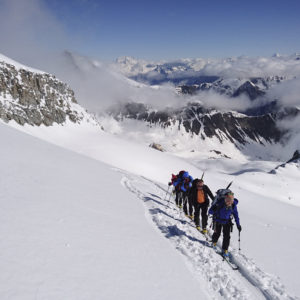 Aufstieg zur Gran Serra während der Gran Paradiso Skidurchquerung mit Bergführer