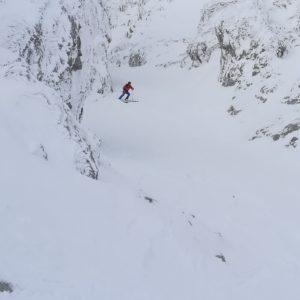 Geführte Skitour im Winter.