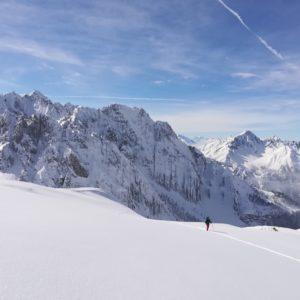 Blick ins Karwendel. Skitour mit Bergführer.
