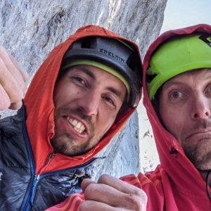 Armin Fuchs und Nio Jaonvsky während der erstbegehung in der hechberg südwand